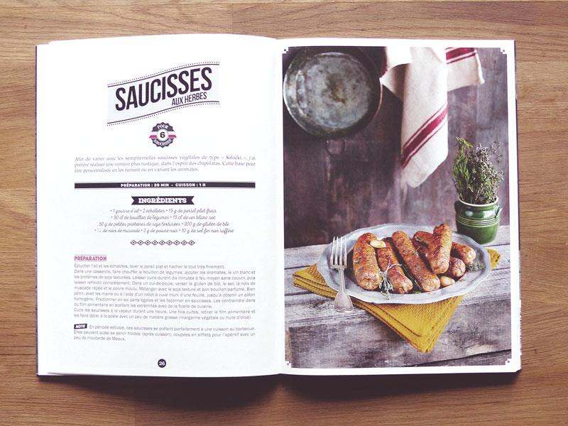 livre boucherie vegan - saucisses aux herbes